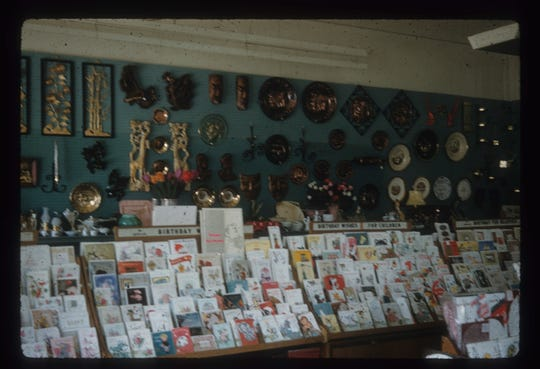 The interior of Al's Newsstand in 1959.