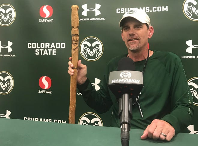 The cane gifted to CSU football coach Mike Bobo by two Georgia boosters.