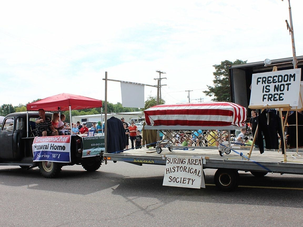The Suring Area Historical Society's somber float was one of eight entries judged best of show in the 88th Suring Labor Day Parade. Each of the best of show winners received $25. More pictures for the hour-plus long parade can be found at www.facebook.com/SuringLaborDay/