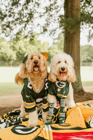 The Dood Squad's Lola, left, and Packer, share a love for Wisconsin. Their Packers fan owners are, respectively, Shelby Steckbauer, a Wausau native, and Lauren Melim, whose mom lived in Green Bay.