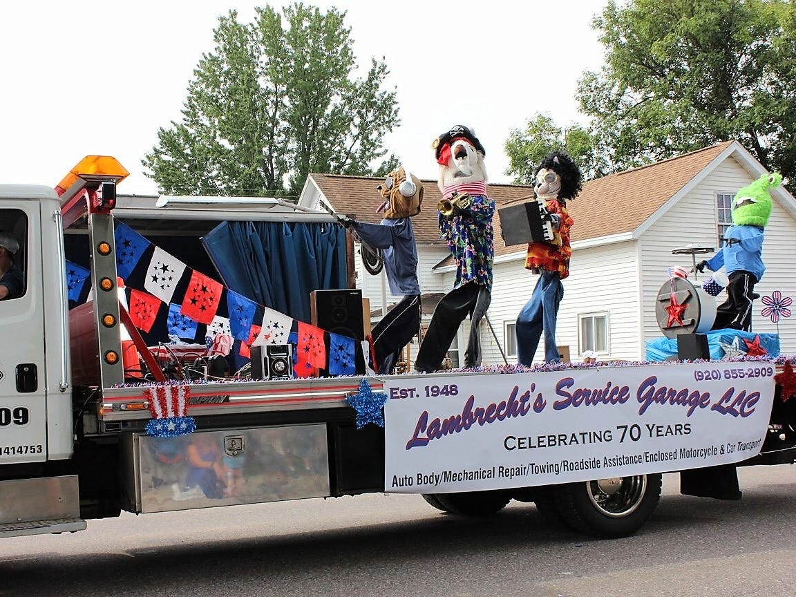 The Lambrecht Service Garage float was one of eight entries judged best of show in the 88th Suring Labor Day Parade.