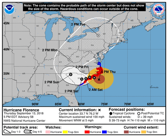 Map showing warning areas as of 5 p.m. Thursday
