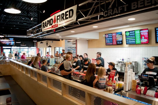 Rapid Fired Pizza is designed for quick service, which makes it a popular lunch spot.