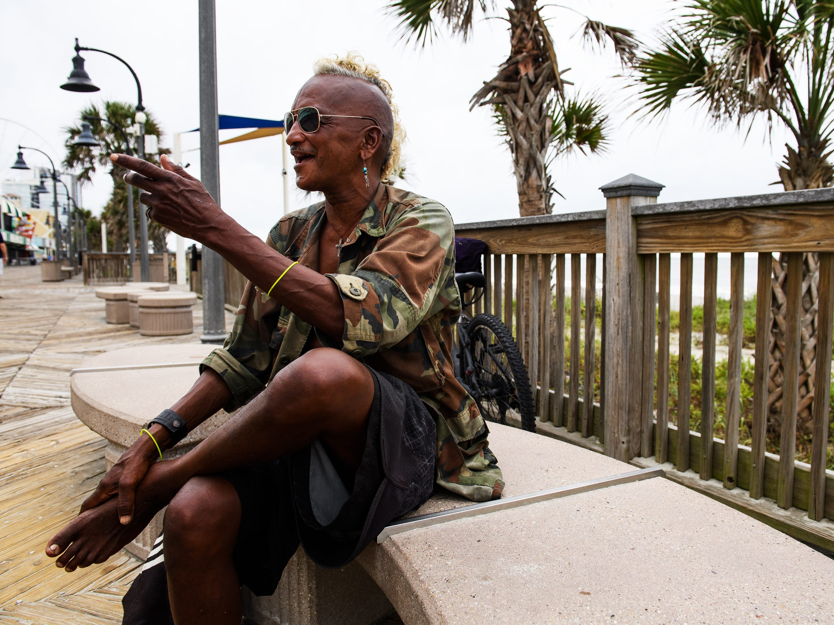 "Shane ""Rooster"" Bacchus, a homeless man in Myrtle Beach, talks about his plans for Hurricane Florence at the Myrtle Beach Boardwalk and Promenade on Thursday, Sept. 13, 2018."