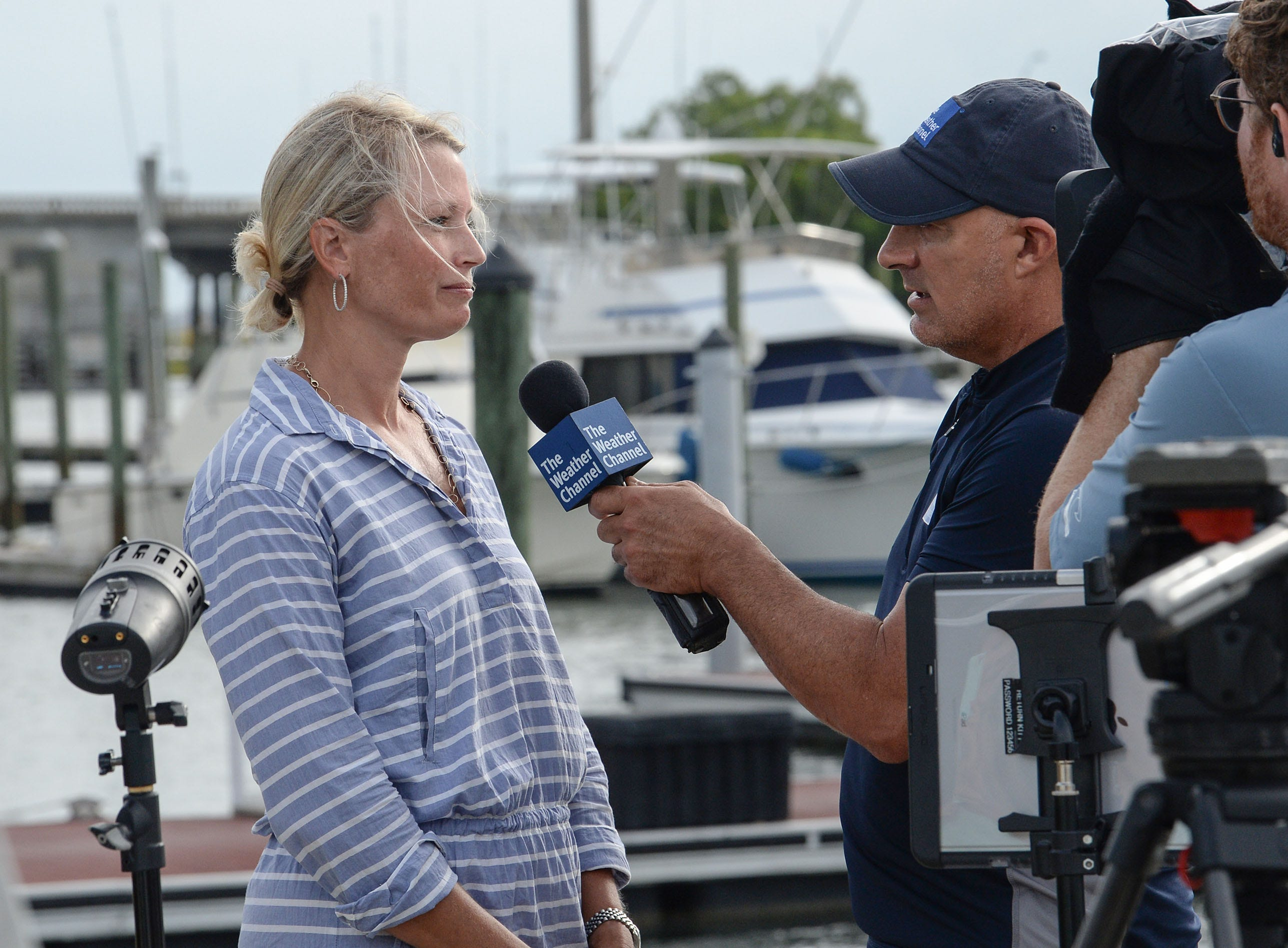 Amy Neathery of Wilmington, N.C. is interviewed by Jim Cantore, before Hurricane Florence in Wilmington, North Carolina on Thursday, September 13, 2018. (Ken Ruinard / Greenville News / Gannett USA Today Network / 2018 )