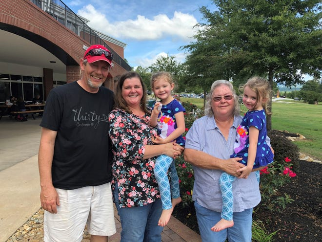 Kevin Moulden and his wife, Tammy, and their twin daughters Emily and Abbey, and his mother-in-law, Shirley Thompkins, are among the members of his family that are have evacuated from Myrtle Beach to North Greenville University ahead of Hurricane Florence.