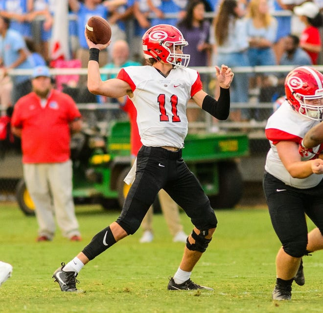 Greenville quarterback Davis Beville, shown during the Red Raiders' win over J.L. Mann in Week 3, passed for 210 yards and rushed for 119 in his team's 28-27 loss at South Pointe Wednesday night.