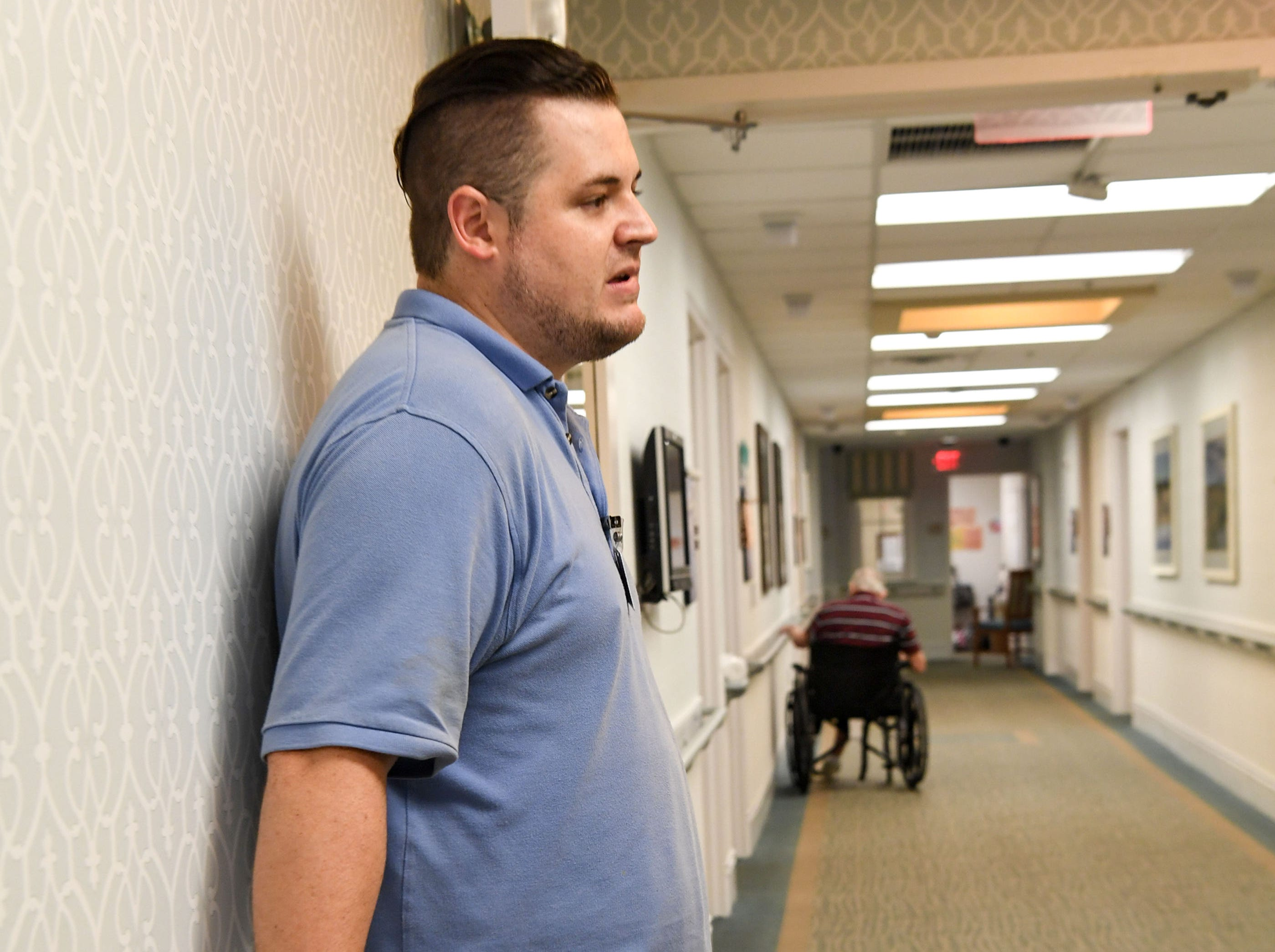Wayne Schaefer, Clinical Coordinator at the Davis Community nursing home and assisted living facility in Wilmington, North Carolina on Thursday, September 13, 2018. (Ken Ruinard / Greenville News / Gannett USA Today Network / 2018 )