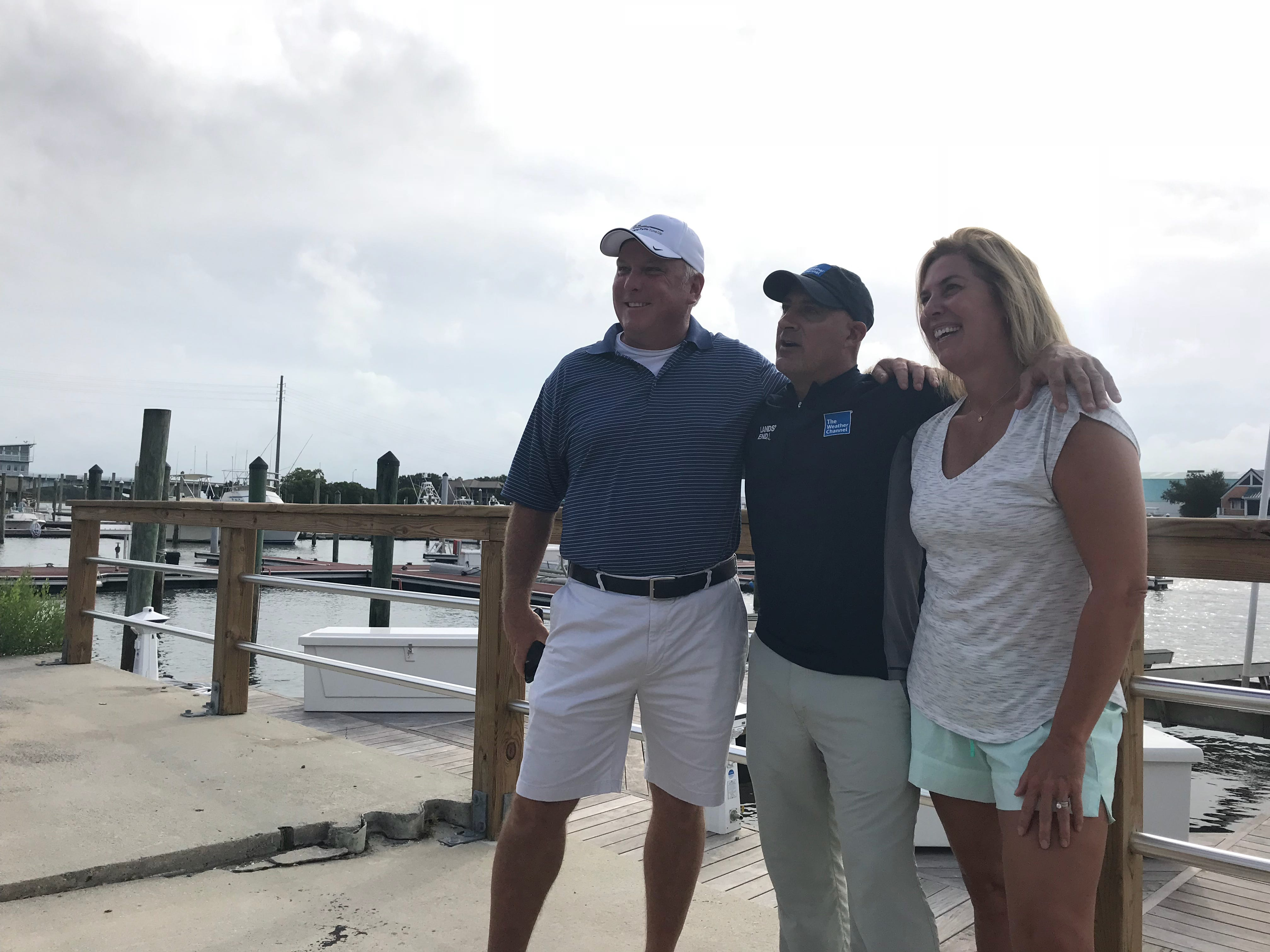 Celebrity meteorologist Jim Cantore of The Weather Channel reports from Wilmington, N.C., on Thursday, Sept. 13, 2018. Fans didn't take long to notice.