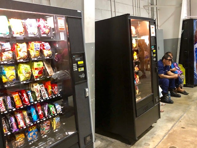 A law signed in 2011 mandates healthy food and drinks to be sold in vending machines at all government of Guam buildings and offices, including these machines located at the Department of Revenue and Taxation in Barrigada. Seven years later, GovGuam is still unable to enforce the law meant to help reduce diabetes, obesity and other public health risks.