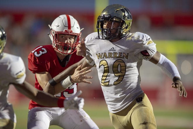 Warren Central's Randy Wells, Jr. (29) has 34 tackles through four games and has caused two fumbles so far this season.