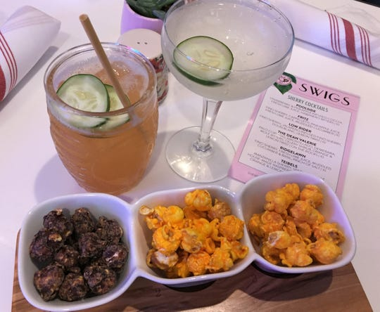 Sherry cocktails to pair with popcorn include the cucumber pineapple Fritz (left) and jalapeno lime Low Rider at Just Pop In! popcorn bar and cafe, 6302 Guilford Ave., in the Broad Ripple community of Indianapolis.