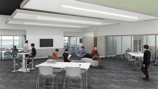 """New classrooms will be placed in """"pods"""" around a central open space, which will offer flexible seating and room for students to spread out for projects."""