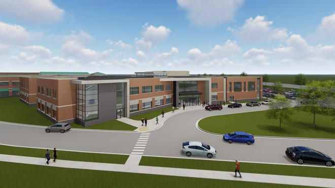 An exterior view of the addition to Westfield High School