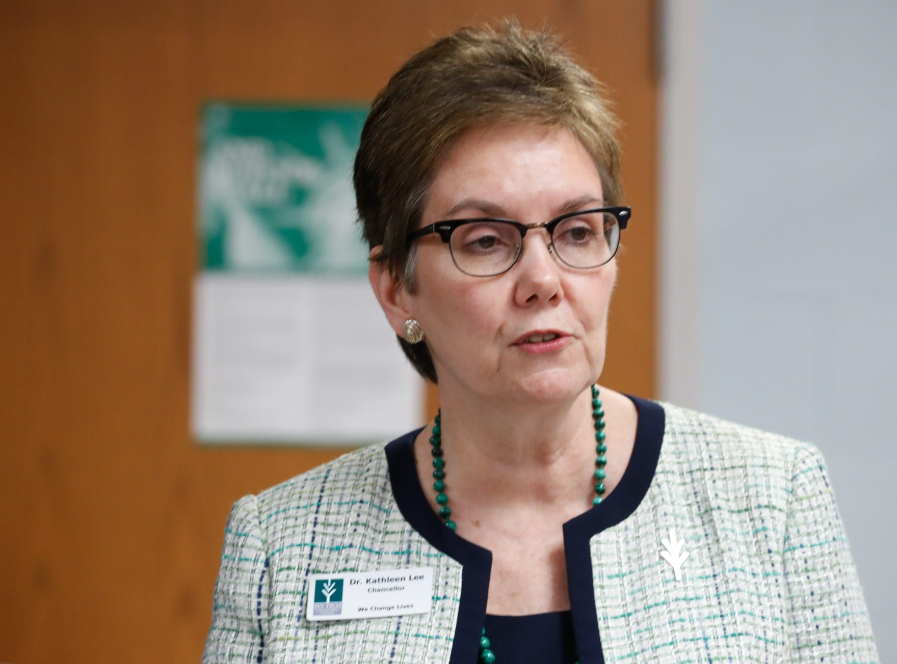 Dr. Kathleen Lee, chancellor of Ivy Tech speaks during the official opening of Gleaners Hamilton County Cupboard food pantry at Ivy Tech in Noblesville Ind. on Thursday, Sept. 13, 2018. The Joint partnership among Gleaners, Ivy Tech and Goodwill will serve college students who are food-insecure.