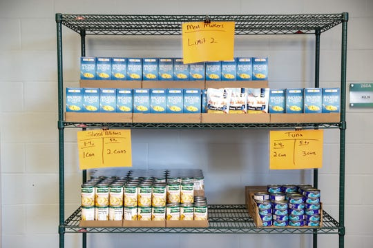 Food is organized at Gleaners Hamilton County Cupboard food pantry at Ivy Tech in Noblesville.