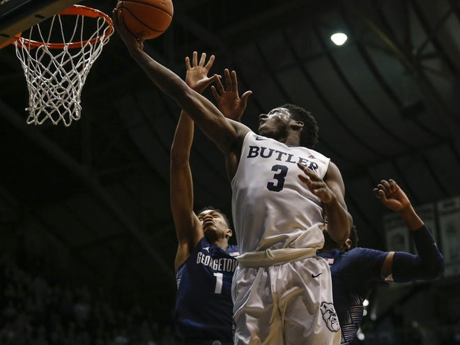 Butler Bulldogs guard Kamar Baldwin (3) drives and makes a layup against the Georgetown Hoyas at Hinkle Fieldhouse on Tuesday, Feb. 13, 2018.
