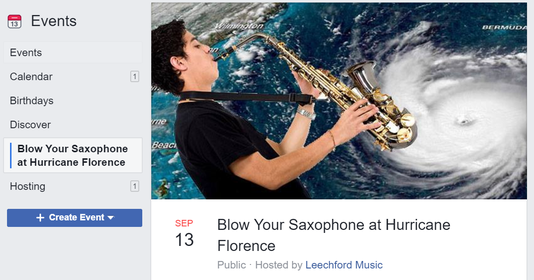 Facebook event: Blow Your Saxophone at Hurricane Florence