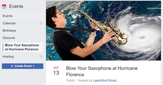 """A Facebook event sponsored by a music store invites people to """"Blow Your Saxophone at Hurricane Florence."""""""
