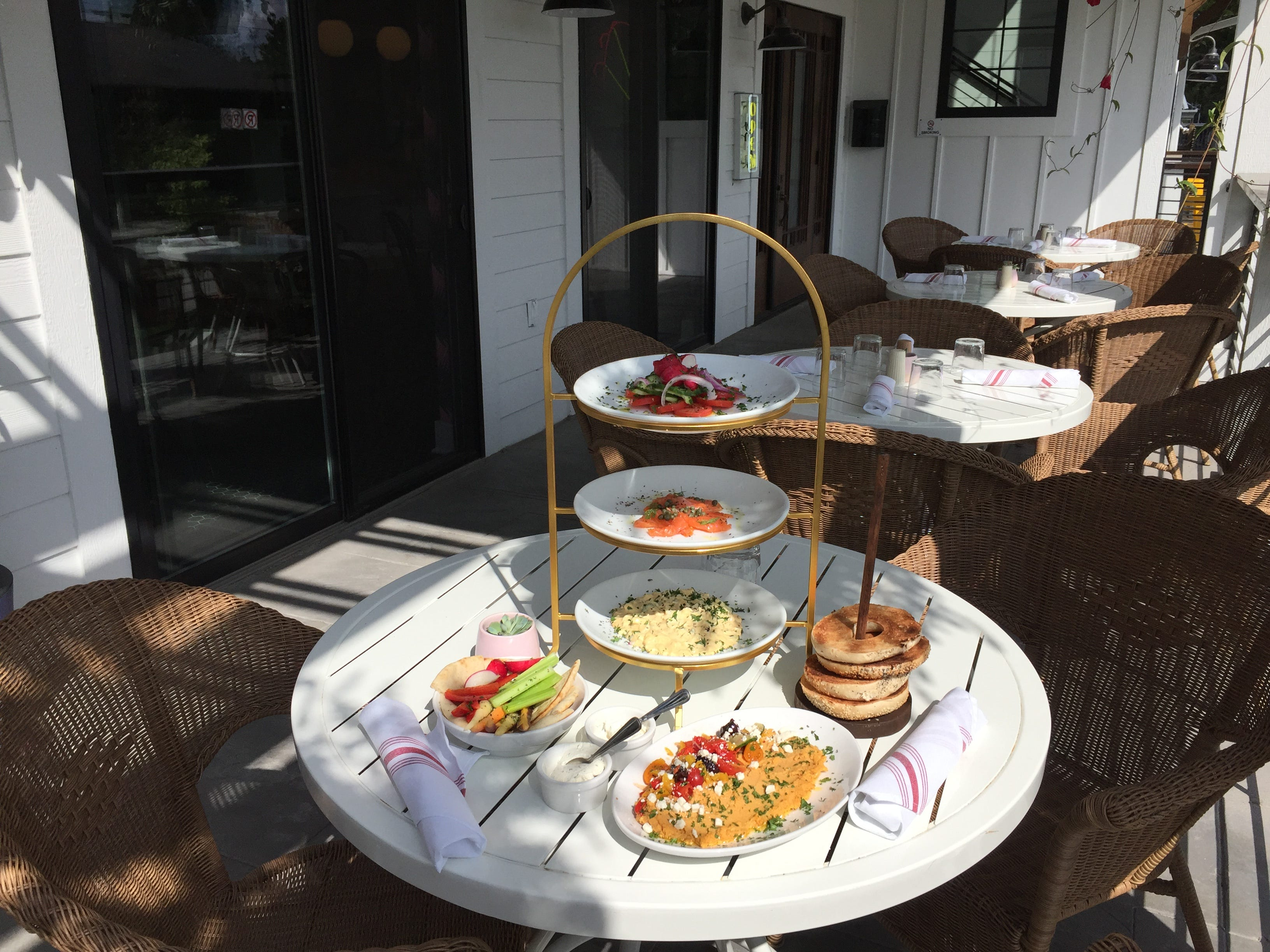 Add mimosa or bellini service to a selection of fresh food for an improptu brunch on the patio at Just Pop In! popcorn bar and cafe at 6406 Cornell Ave. in the Broad Ripple  community of Indianapolis.