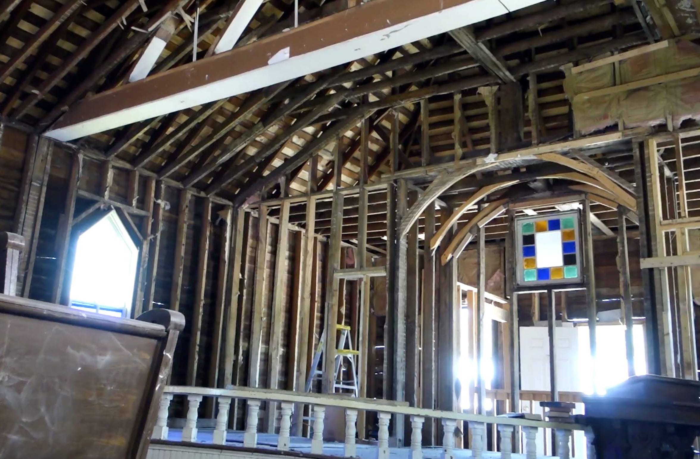 The church walls were stripped to the bare frame.