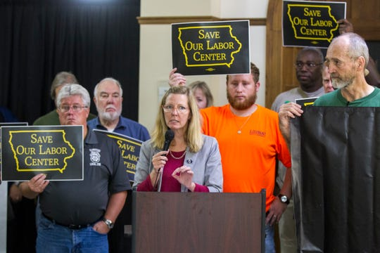 "Tracy Leone, of Teamsters Local 238 and the ""Save Our Labor Center"" coalition, speaks to supporters after an Iowa Board of Regents meeting on Thursday, Sept. 13, 2018, outside the Iowa Memorial Union on the University of Iowa campus in Iowa City."
