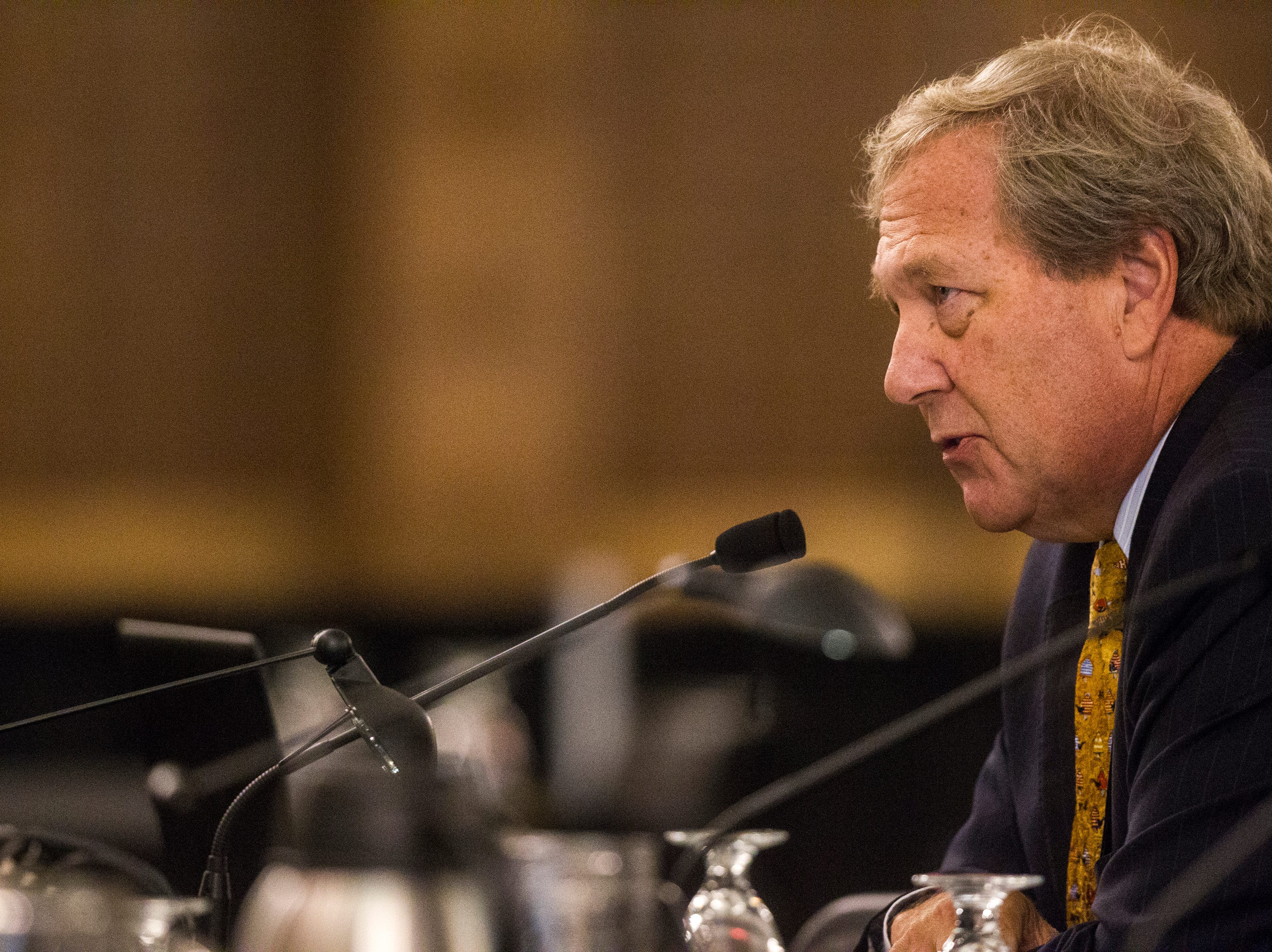 University of Iowa President J. Bruce Harreld speaks during an Iowa Board of Regents meeting on Thursday, Sept. 13, 2018, in the Iowa Memorial Union main ballroom on the University of Iowa campus in Iowa City.