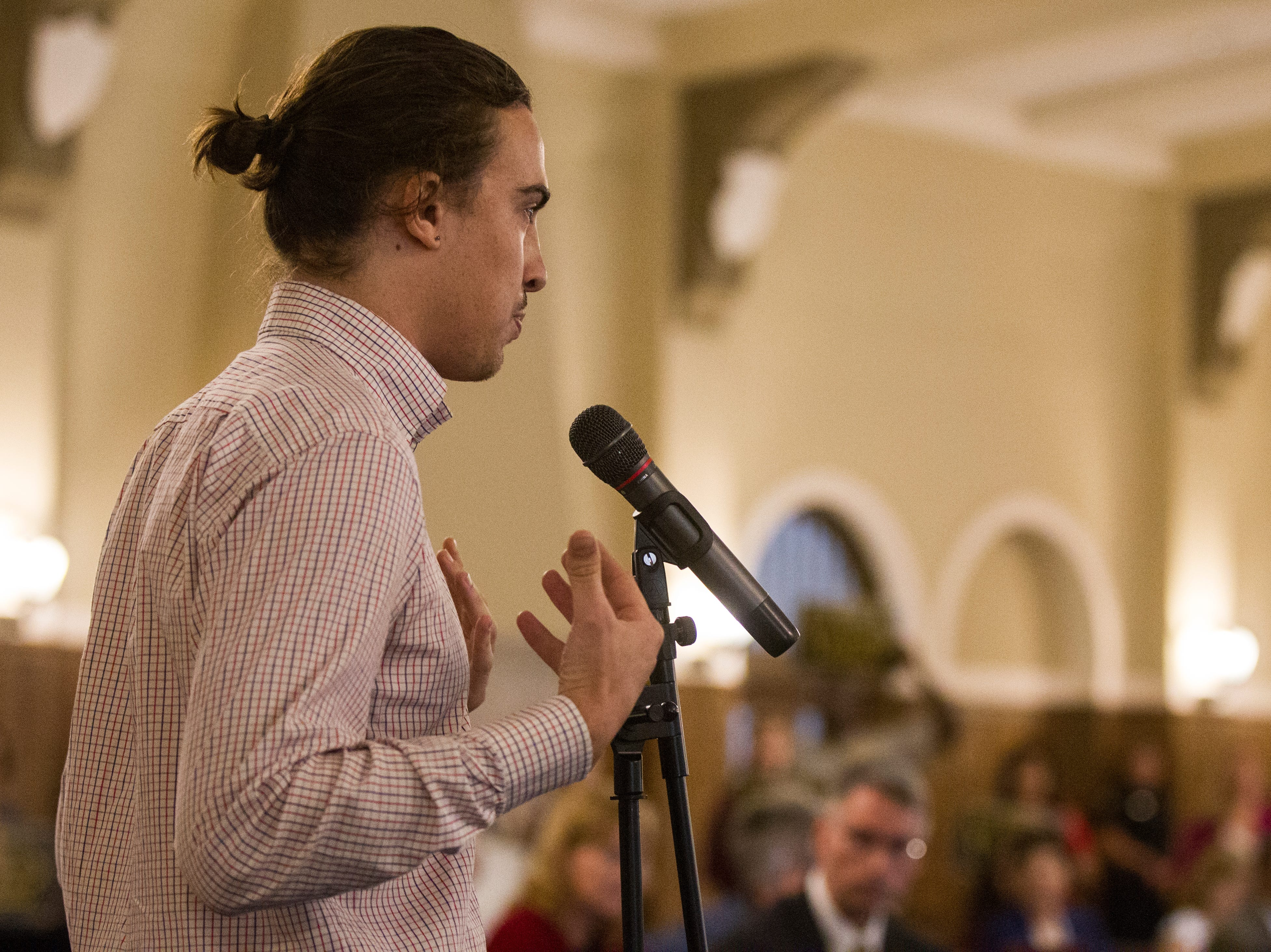 Ryan Hall, a University of Iowa student, speaks during an Iowa Board of Regents meeting on Thursday, Sept. 13, 2018, in the Iowa Memorial Union main ballroom on the University of Iowa campus in Iowa City.