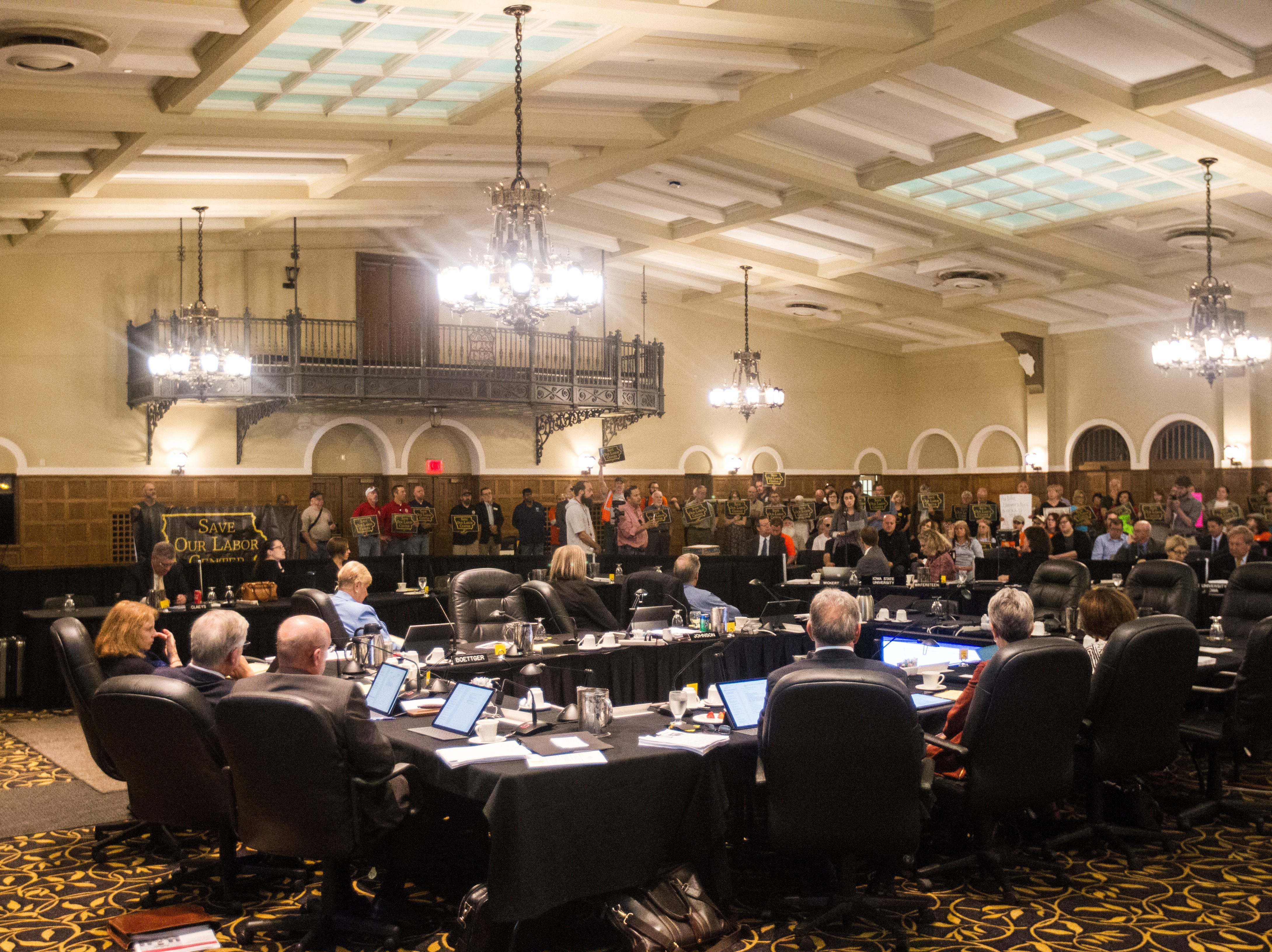 Regents listen to public comment during an Iowa Board of Regents meeting on Thursday, Sept. 13, 2018, in the Iowa Memorial Union main ballroom on the University of Iowa campus in Iowa City.
