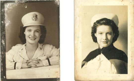 Alma Lowry Hill was an Army nurse during World War II, left, and, later, a school nurse.