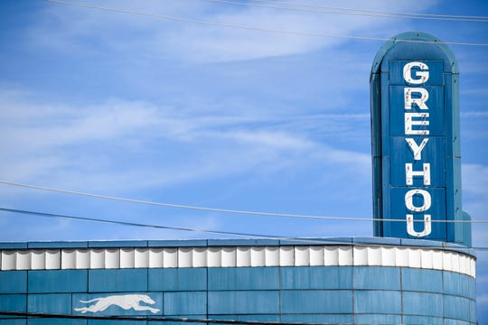 A sign perched atop the awning can be seen at the Greyhound Bus Station in Jackson, Tenn., on Wednesday, Sept. 12, 2018.