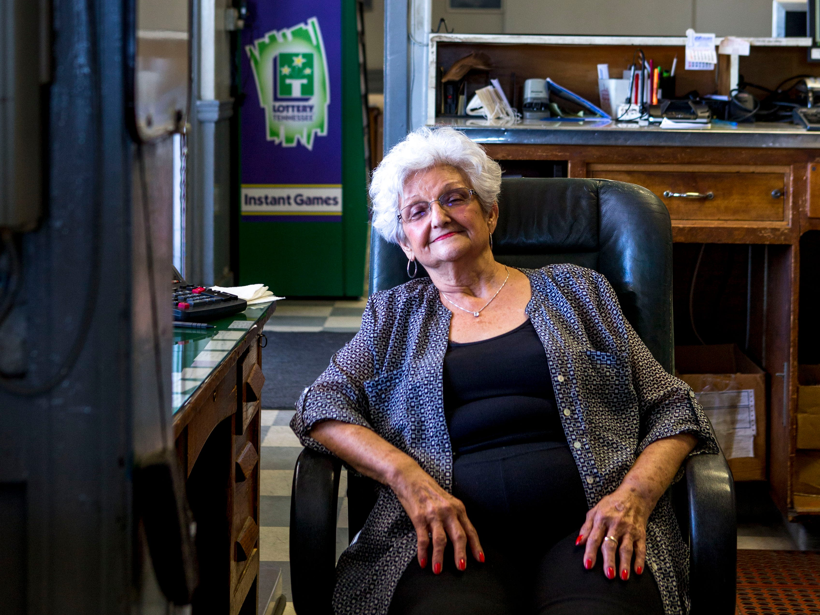 Doris Hollowell sits in her office chair at the Greyhound Bus Station in Jackson, Tenn., on Wednesday, Sept. 12, 2018. Hollowell has owned and operated the terminal since 1973, and decided it was time to take a break and try to relax in retirement while she can. She has seen many faces in and out of the station, including regulars sometimes every day.