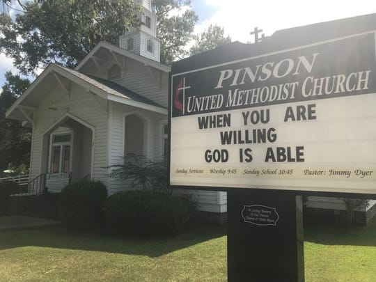 The front of Pinson United Methodist Church, which will host a 150th anniversary celebration on Sept. 23.