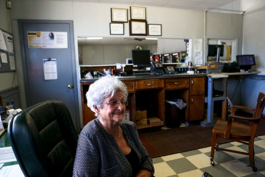 Doris Hollowell, who has owned the station since 1973, sits down in her office at the Greyhound Bus Station in Jackson, Tenn., on Wednesday, Sept. 12, 2018.