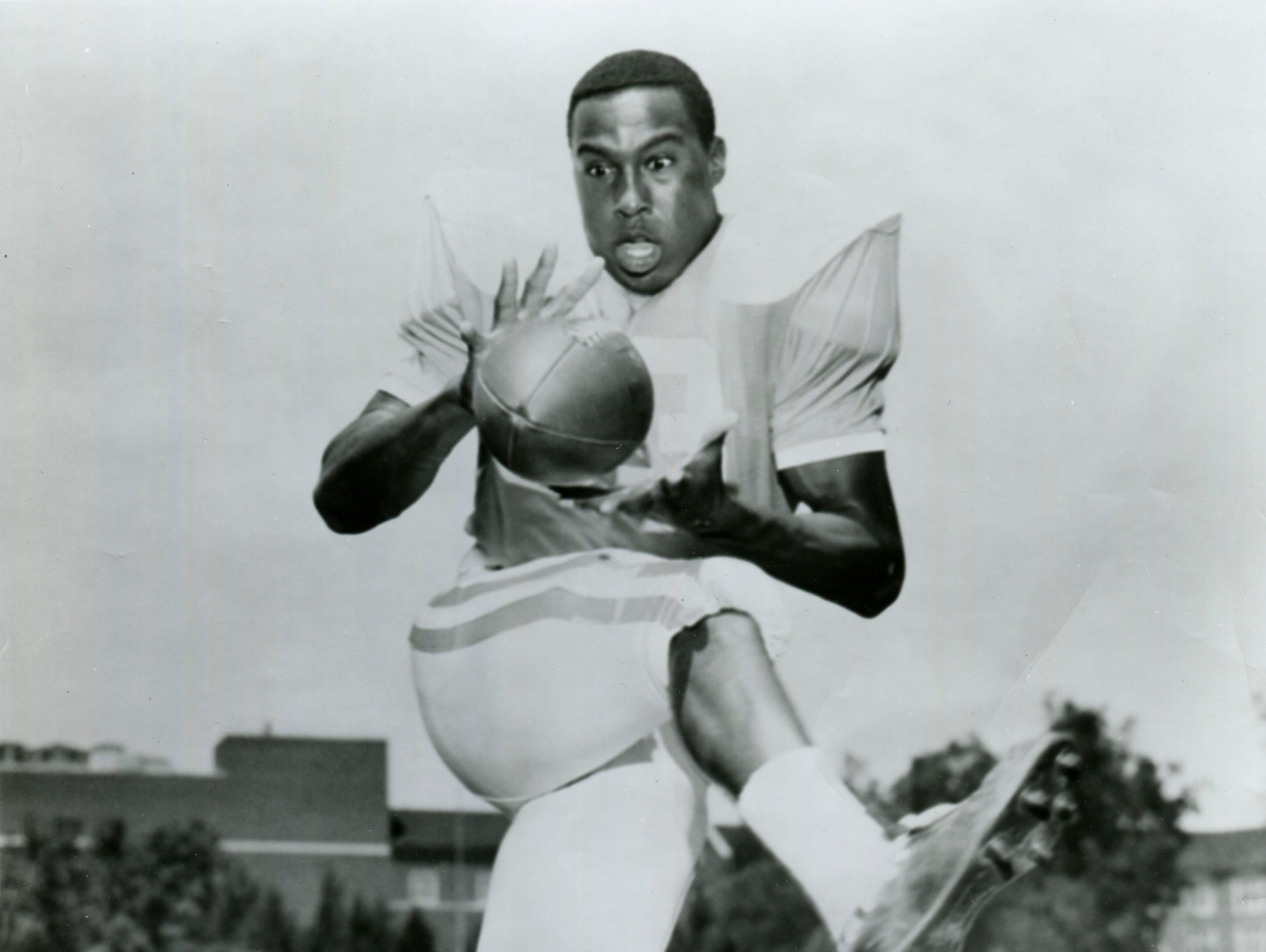 Lester McClain, the first black athlete to play football for the University of Tennessee. The wingback caught 70 passes for 1,003 yards and 10 touchdowns in three seasons.