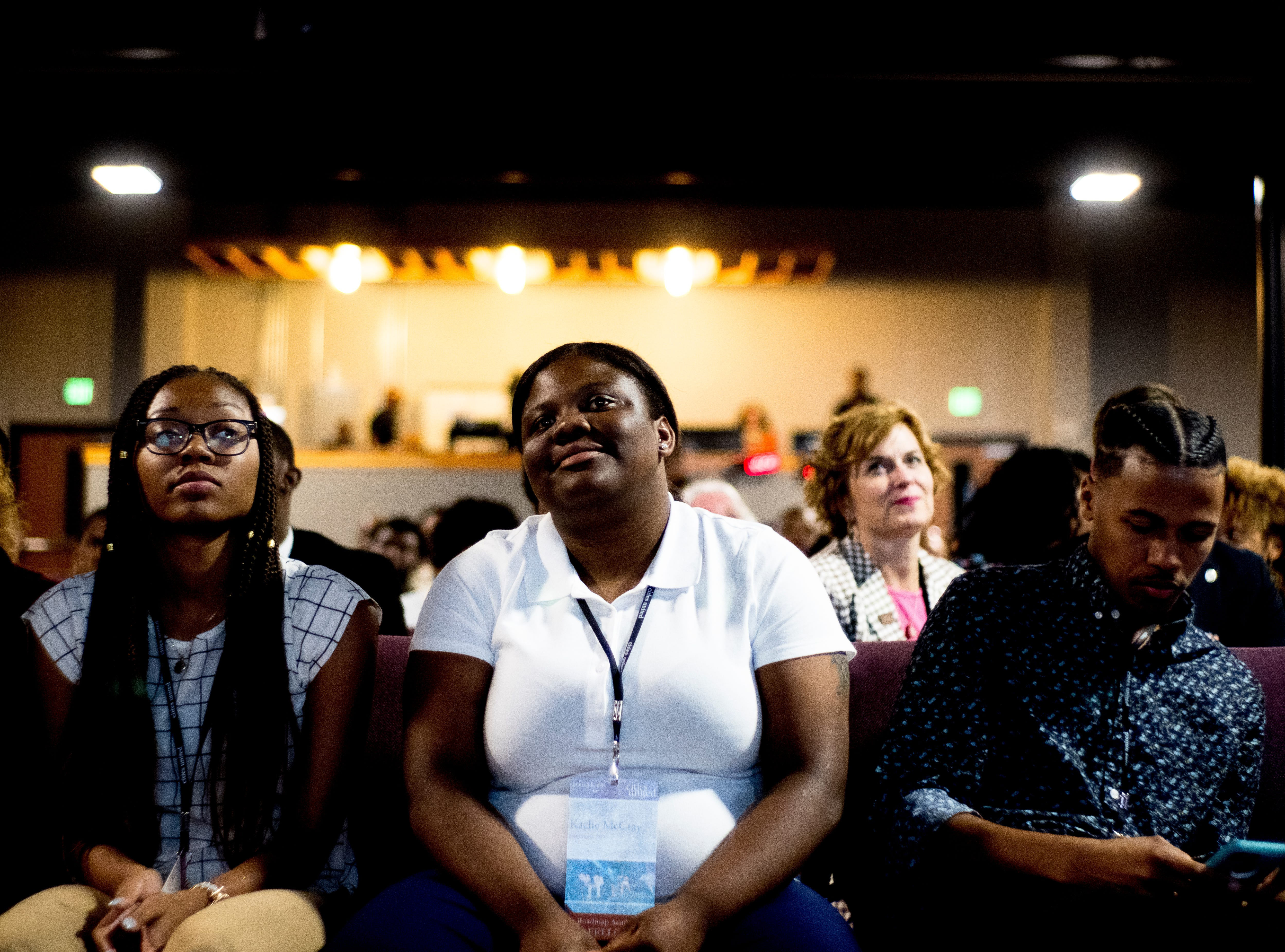Attendees listen during the Cities Summit held at Overcoming Believers Church in Knoxville, Tennessee on Wednesday, August 22, 2018. Mayors from all over the country are in Knoxville with Mayor Rogero to talk about opportunities and issues facing young men of color.