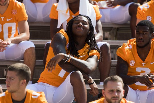 Marquez Callaway (1) poses for the camera during media day in Neyland Stadium at University of Tennessee, Sun. Aug. 5, 2018.