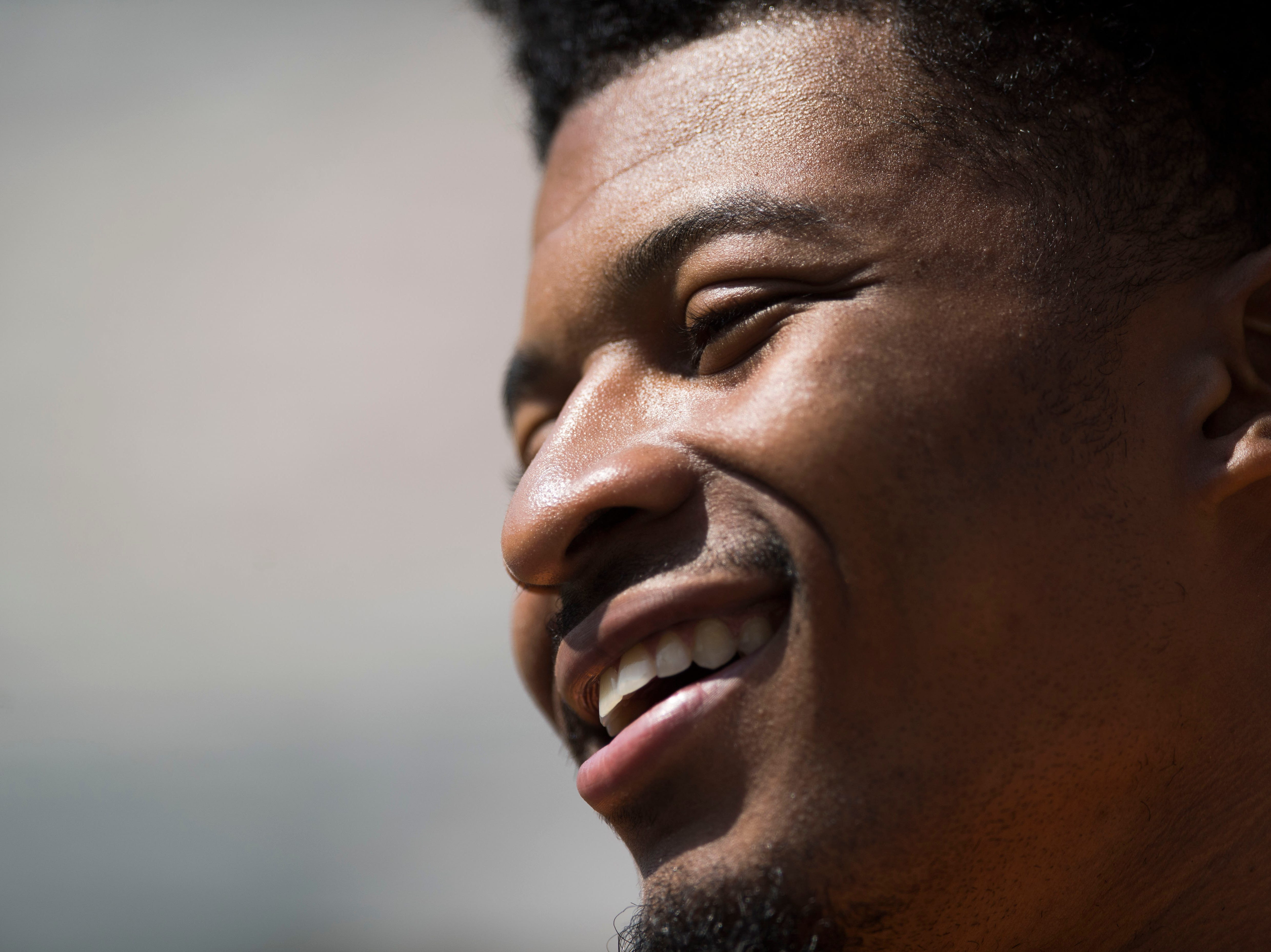 Quart'e Sapp smiles while talking to media during media day at University of Tennessee in Neyland Stadium, Sun. Aug. 5, 2018.