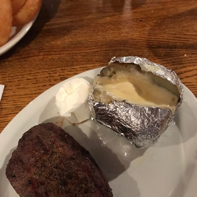 """The """"Aussie"""" was a flavorful sirloin but this medium well steak lacked juiciness."""