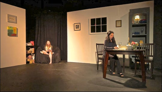 """Jessica Romero, left, and Katryn Schmidt act in the new play, """"Take Down the Letters,"""" by Sue Schleifer."""