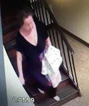 This video still shows 66-year-old Theresa Marie Shook leaving her apartment at 141 Graceland Drive on Sept. 2 around 10 p.m. She has not been seen or heard from since.