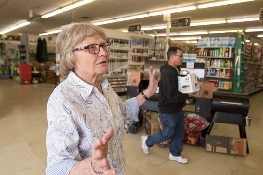 "Gladys Willmore of Howell says ""What I like about [Grundy's] - it's local,"" she said Thursday, Sept. 13, 2018. The long-time family-owned store recently sold and is now Byrum Ace Hardware."
