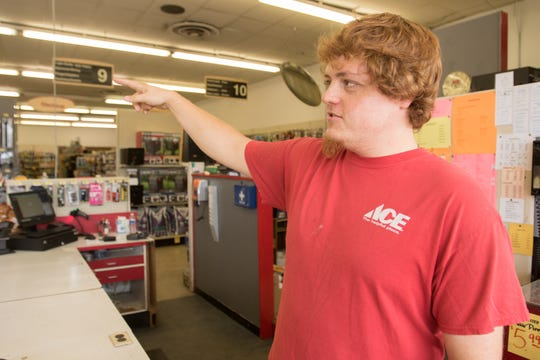 Ace Hardware assistant manager Preston Buesching talks about the expansion of the former Grundy's Hardware Thursday, Sept. 13, 2018.
