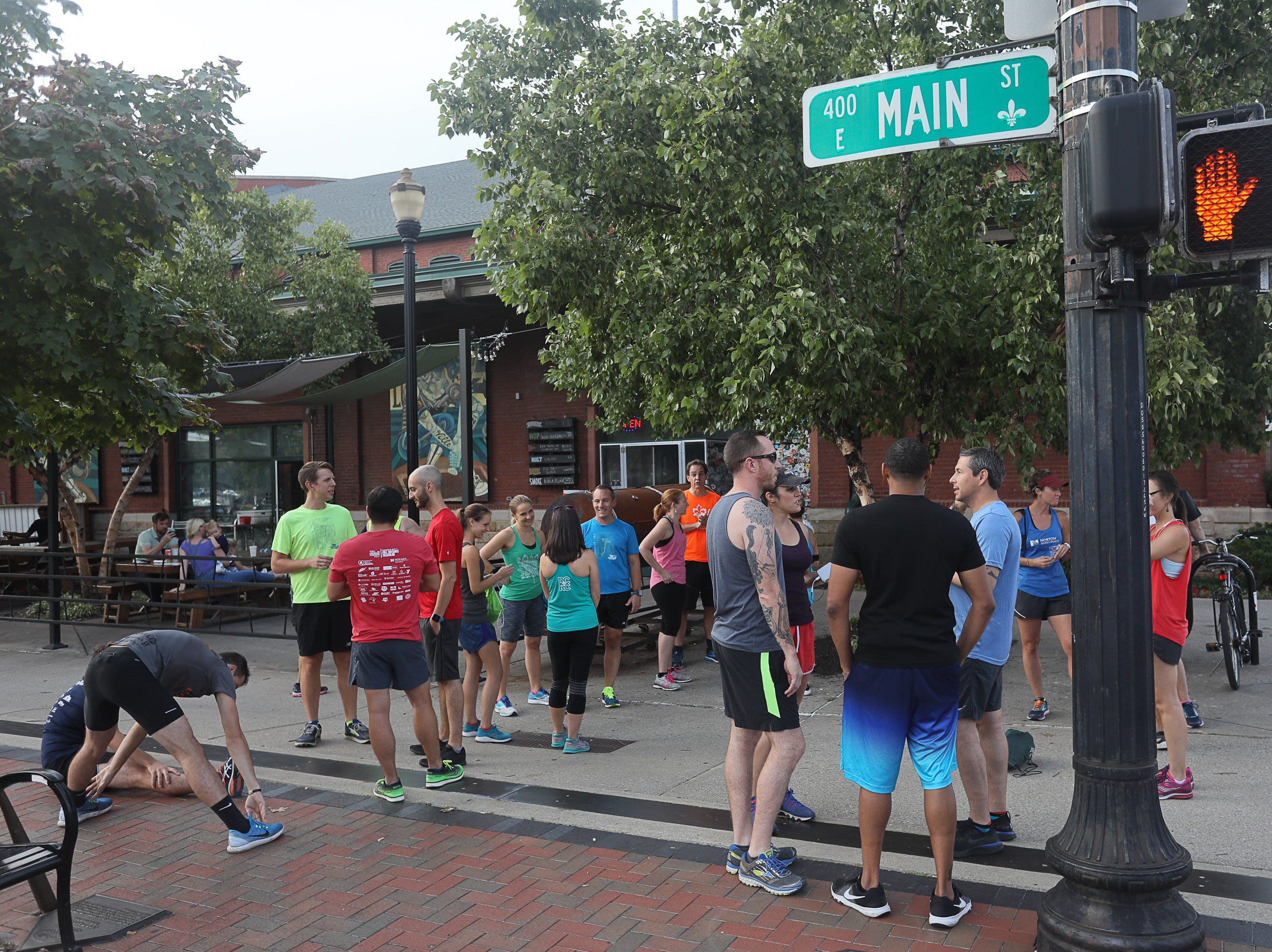 Scene during a Derby City Run Club event at Against the Grain Brewery in Louisville, Ky. Sept. 12, 2018