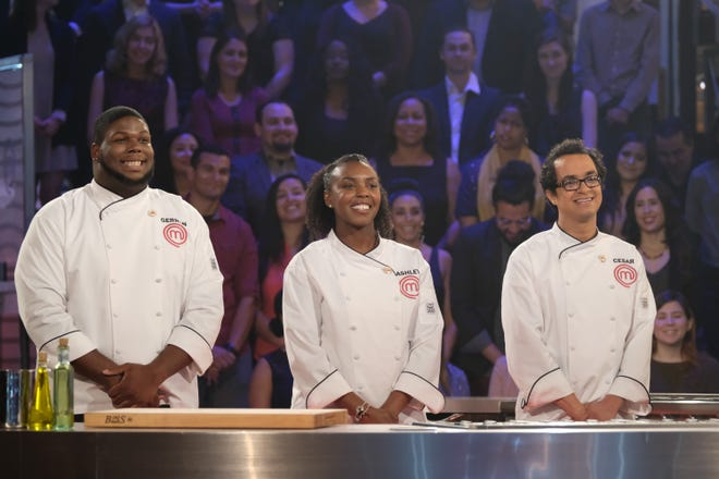 Left to Right : Gerron Hurt, Ashley Mincey, Cesar Cano. MasterChef Season 9