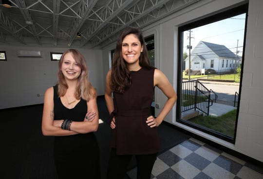 Hannah Rose Neuhauser, left, and Jeannette Bahouth will use this space inside the Anchor Building in Portland to operate the Young Authors Greenhouse.  Bahouth is executive director of the Young Authors Program and Neuhauser is the program manager.