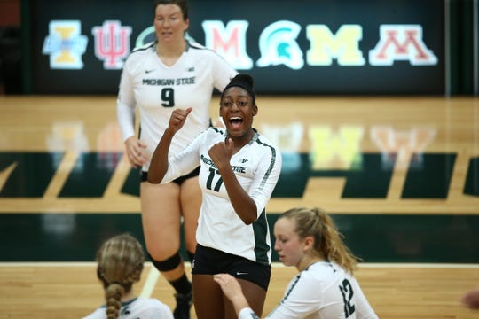 Freshman Naya Gros (17) has been one of the numerous underclassmen playing a vital role for the Spartans volleyball team.  Gros, a New Orleans native, is one of seven freshman on MSU's roster.