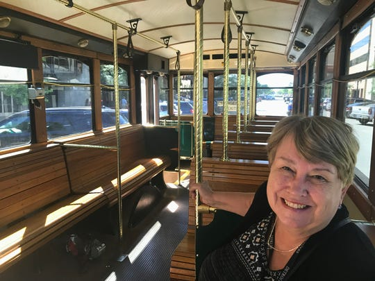 Lansing State Journal Community Content Editor Barb Modrack rides the Grab & Go Sept. 11, 2018 to Old Town.  The new, free Capital Area Transportation Authority route runs from downtown to Old Town.