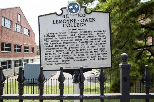 September 13 2018 - A historical marker is seen on the Lemoyne-Owen College campus.