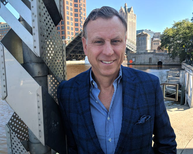 Paul Grangaard shows off a new CircleRock sports coat and shirt ensemble. The former CEO of Allen Edmonds Shoe Corp. has launched CircleRock LLC, a bold new menswear and lifestyle brand.